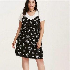 Torrid floral print stretch challis slip dress